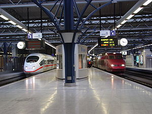Third railway package - International trains at Brussels Midi station: ICE 3 and Thalys.