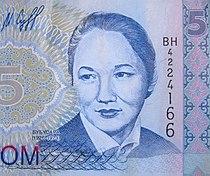 Bubusara Beyshenalieva on 5 som note.jpg