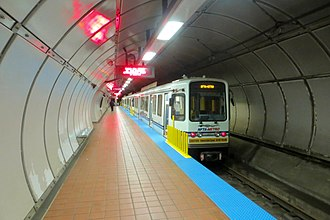 University station (Buffalo Metro Rail) - Train laying over at University