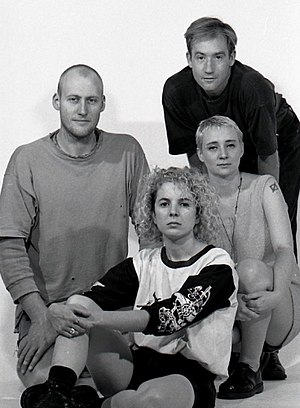Bughouse (band) - Bughouse 1990. Left to right Steve Campbell, Genevieve Maynard, Peter Brookes, Lea Cameron. Picture by Tony Mott