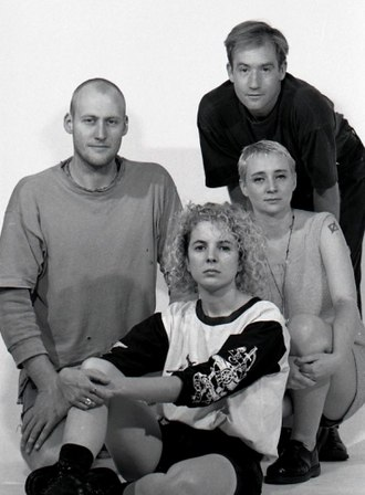 Bughouse (band) - Bughouse 1990. Left to right Steve Campbell, Genevieve Maynard, Peter Brookes, Lea Cameron.