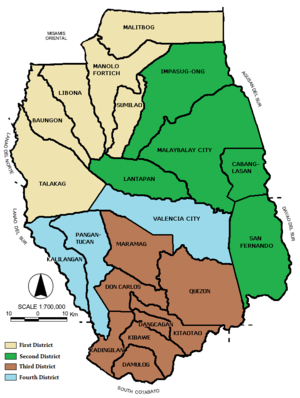 Legislative districts of Bukidnon - Map showing the current legislative districts of Bukidnon.