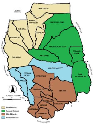 Legislative districts of Bukidnon - Map showing the current legislative districts of Bukidnon.