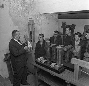 "Italians in Germany - Italian emigrants in Germany (called ""Gastarbeiter""), receiving instruction in 1962"