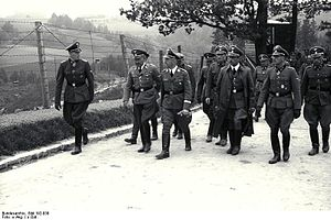 Fritz Klingenberg - Klingenberg (far left) with Heinrich Himmler and other SS officers on tour of Mauthausen-Gusen concentration camp, June 1941.