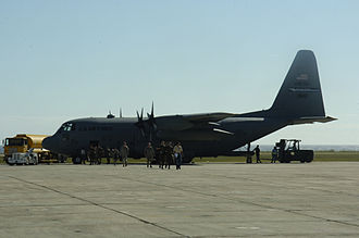 914th Air Refueling Wing - A wing C-130H Hercules at Naval Base Guantanamo Bay in 2010
