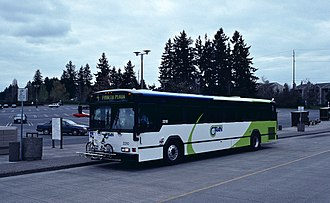 C-Tran (Washington) - A C-Tran Gillig Phantom in a later paint scheme. The agency still operates high-floor buses of this type, but has begun to gradually replace them with low-floor models.