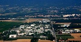 Luchtfoto van de gebouwen van CERN