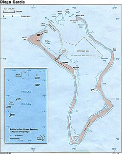 Map of Diego Garcia. East Point is annotated.