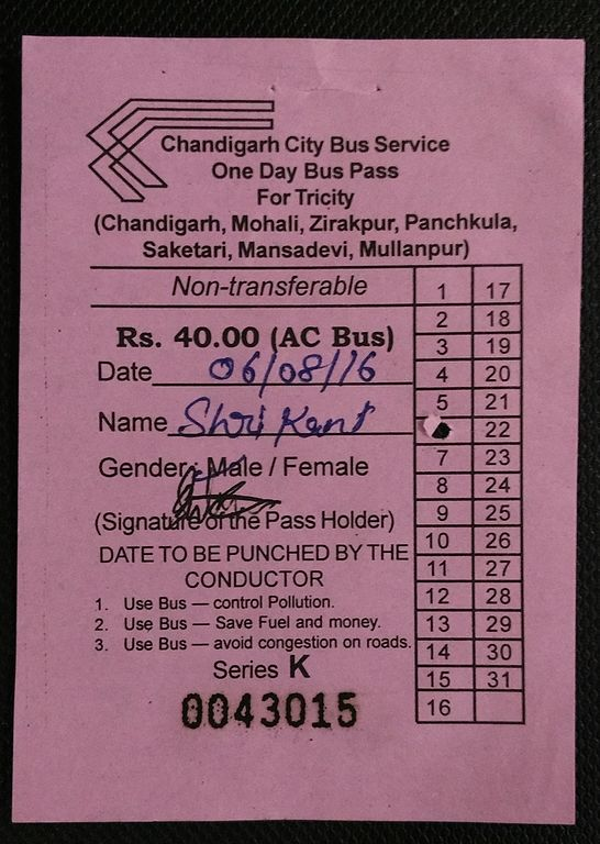 Daily Bus Pass issued by the Chandigarh Transport Undertaking for the Tricity Region.