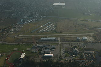 Langley Regional Airport - Langley Airport as seen with its two paved runways.