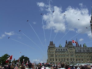 Snowbirds over Parliament in Ottawa. July 1, 2008.