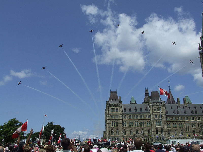 Canada Day 2008 Snowbirds over Parliament.jpg