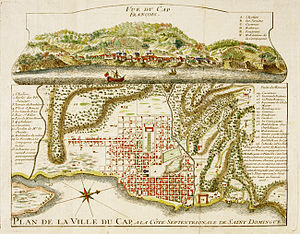 History of Haiti - Engraving of  Cap-Français in 1728