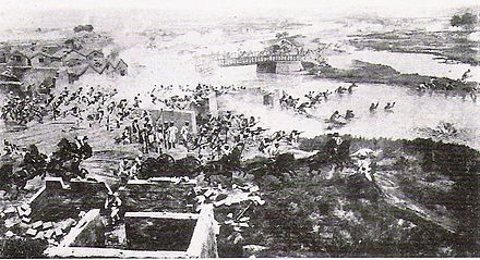 The capture of the southern gate of Tianjin. British troops were positioned on the left, Japanese troops at the centre, French troops on the right. CaptureTianjin.jpg