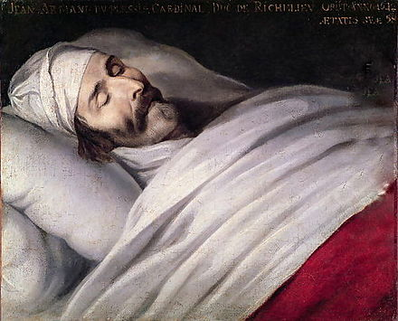 Painting by Philippe de Champaigne showing Cardinal Richelieu on his deathbed Cardinal-Richelieu-On-His-Deathbed.jpg