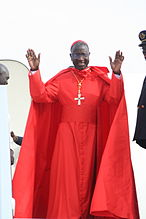 Théodore Adrien Cardinal Sarr with a ferraiolo, and wearing a red cassock, but not the rest of the choir dress.