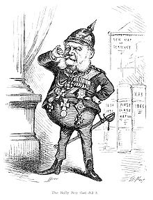 Caricature of William I by Thomas Nast which appeared in The Fight at Dame Europa's School by Henry William Pullen (Source: Wikimedia)
