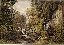 Painting of a forest, stream, and mill