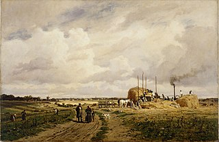 Use of the first threshing machine at Lankow near Schwerin in 1882