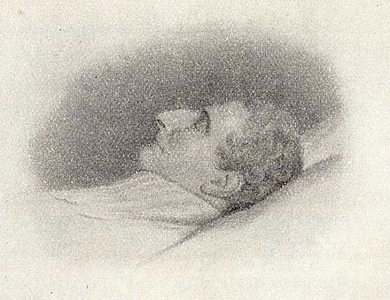 Charles John on his deathbed Carl XIV John of Sweden dead 1844.jpg