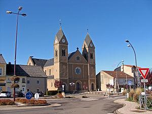 Carling, Moselle - Image: Carling église Saint Gérard rue Principale