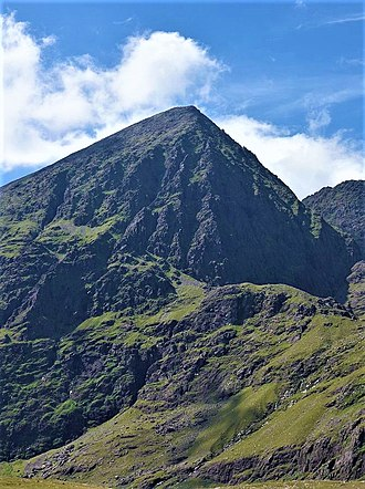 Carrauntoohil - Carrauntoohil's east face (l), and north-east face (r, in shadow), as seen from the Hag's Glen.