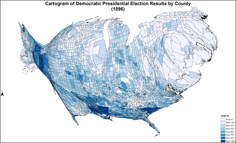 CartogramDemocraticPresidentialCounty1896Colorbrewer