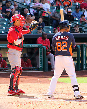 Intentional base on balls - A catcher for the Mexican League's Rojos del Águila de Veracruz uses his glove to signal the pitcher for an intentional walk.
