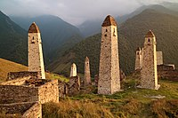 Caucasus, Ingushetia, Ингушские боевые и смотровые башни, горы Кавказа.jpg
