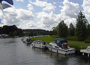 Caversham Lock - View as the channel veers north-west by Tilehurst and Purley