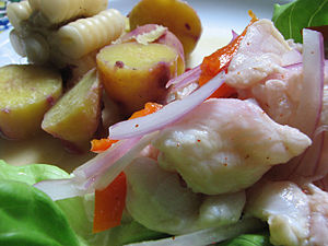Peruvian Cebiche (ceviche) cooked by the author