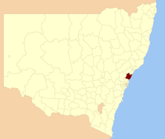 Central Coast Council, New South Wales - Location of Central Coast LGA in NSW