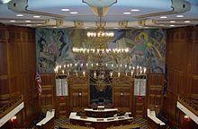Lámpara de araña en la Cámara de Representantes, la Cámara de Representantes de Indiana.JPG