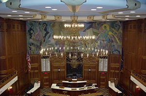 Indiana House of Representatives - Image: Chandelier in House of Representatives, Indiana Statehouse