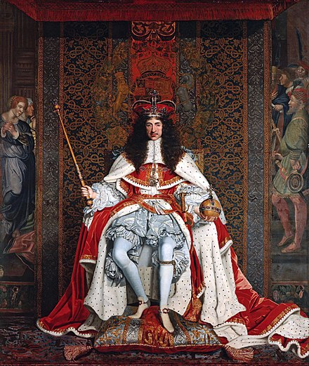 Coronation portrait: Charles was crowned at Westminster Abbey on 23 April 1661. Charles II by John Michael Wright.jpg