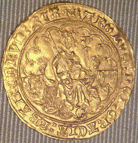 "A coin of Charles VI, a ""double d'or"", minted in La Rochelle in 1420 Charles VI double d'or La Rochelle 1420.jpg"