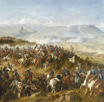 The Chasseurs d'Afrique, led by General d'Allonville, clearing Russian artillery from the Fedyukhin Heights during the Battle of Balaclava Chasseurs d'Afrique a Balaclava.jpg