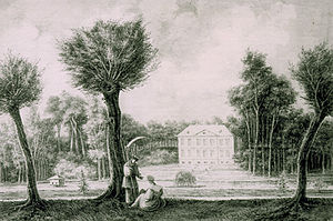 Château Malou - A historic view of the château from 1831