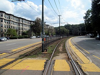 "Green Line ""B"" Branch - Chestnut Hill Avenue, a typical non-accessible station on the line"