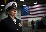 Chief stands watch in the hangar bay of USS Dwight D. Eisenhower. (32248339995).jpg
