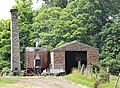 Chimney stack & shed, Overton Farm, Clyde Valley, South Lanarkshire.jpg