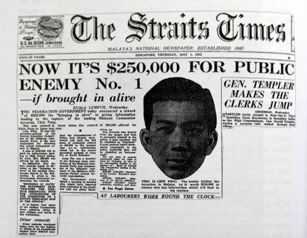 Headline on page 1 of The Straits Times of 1952. Chin Peng: Public Enemy No.1 Chin Peng wanted by Malaya.jpg