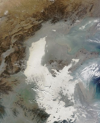 Nanjing - 7 December 2013 image from NASA's Terra Satellite of the Eastern China smog