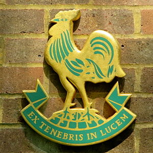 Chinthurst School - Image: Chinthurst school crest on brick wall N01273