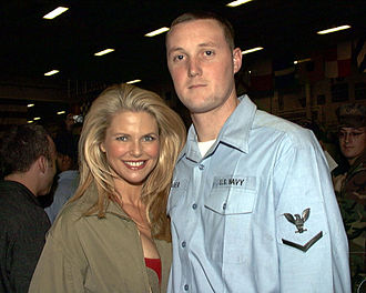 Christie Brinkley - December 1999, during a Christmas visit to the USO