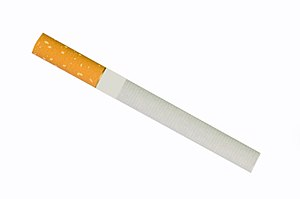 Cigarette - An unlit, filtered cigarette.