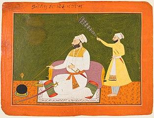 Raja Bikram Singh of Guler (reigned 1661-85) Smoking