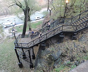 Coogan's Bluff - The John T. Brush Stairway from Edgecombe Ave., descending through Highbridge Park toward Harlem River Drive