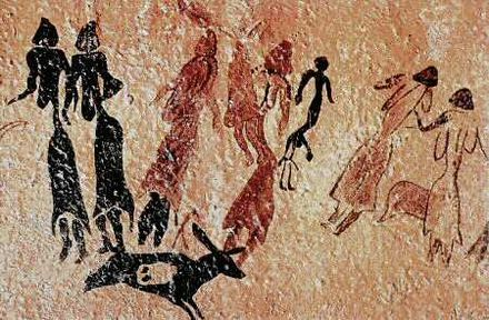 The Roca dels Moros contain paintings protected as part of the Rock art of the Iberian Mediterranean Basin, a World Heritage Site Cogul HBreuil.jpg